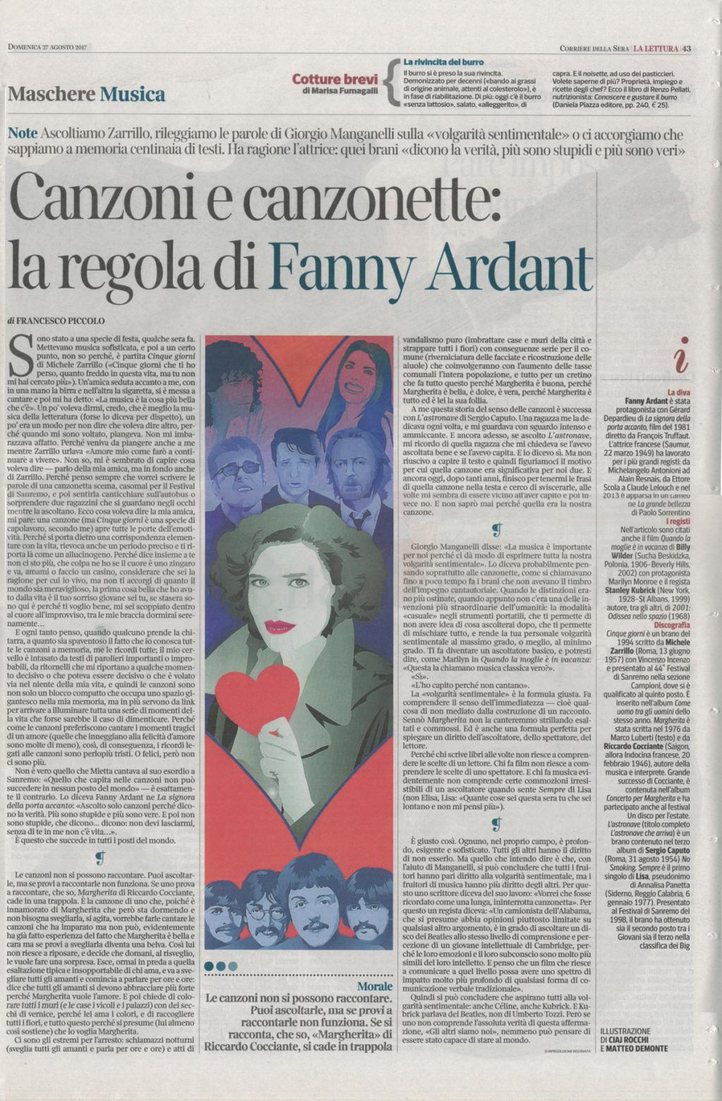 """LIA CECCHIN Francesco Piccolo, """"Canzoni e canzonette: la regola di Fanny Ardant"""", La Lettura (Corriere della Sera), 27 agosto 2017, p.43"""